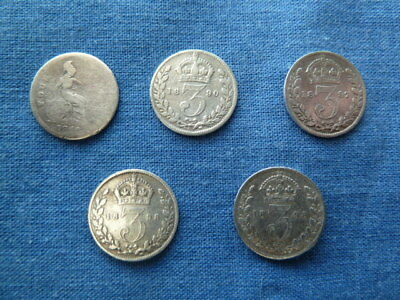 5 Victorian Silver Three Pence Coins 1849, 1890, 1897, 2 X 1898