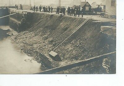 Real photo postcard of the canal wall collapse Whittlesea Cambridgeshire ? vgc
