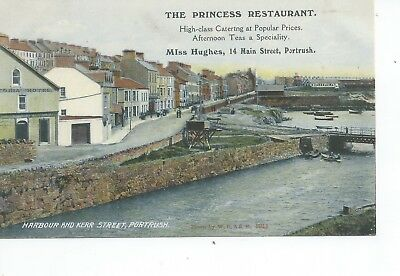 Printed postcard of the harbour & Kerr street  Portrush Antrim Ireland in vgc