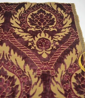 Gorgeous Vintage Cut Silk Velvet Fragment Arts & Crafts Style Tt171