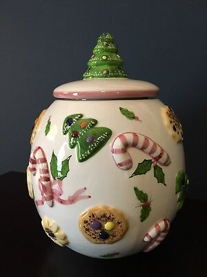 Los Angeles Pottery Christmas Cookie Jar. Cookies All Over. Laurie Gates. EUC!!