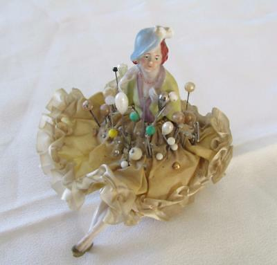 Antique Porcelain Doll Pin Cushion With Legs Kt2686