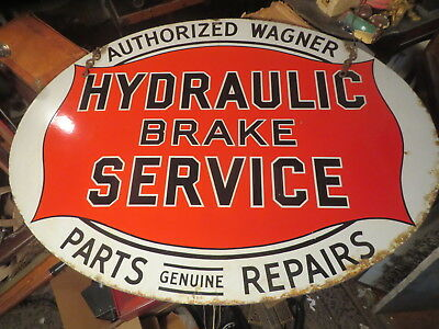 Huge Vintage Metal/Enamel Sign for Wagner Hydraulic Brakes  2-sided!