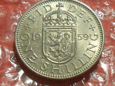 1959 Elizabeth II Scottish Shilling - scarce.