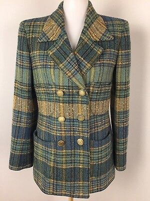 VTG EMANUEL UNGARO Womens Size Small 8 Plaid Wool Blend Blazer Blue Teal Brown