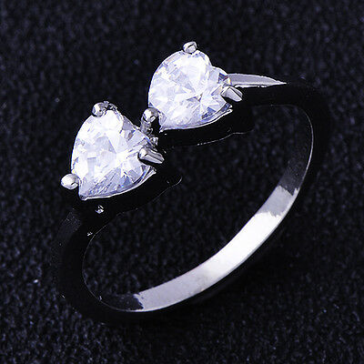 Wedding Bridal 2-Heart Cubic Zirconia Ring White Gold Filled Size 6.5