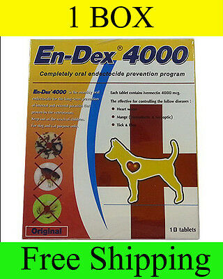 1  Box En-Dex 4000 Remove Prevent Ticks and Fleas for Cats and Dogs