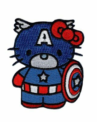 Hello Captain America Kitty Morale Tactical Military Hook Patch