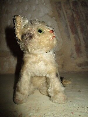 Chat tigré  ancien STEIFF ou Hermann mohair et paille TBE old Teddy bear CAT