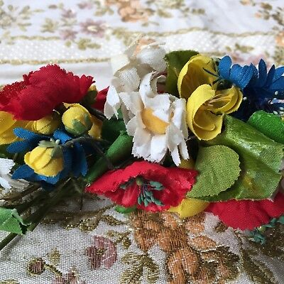 Antique Millinery Flowers Large Bouquet Art Deco 1920s 30s Poppies Daisies Buds