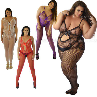 UK Size 6-26 Bow Crotchless Nightie Sexy Bodystocking Fishnet Plus Open Crotch