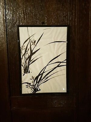 Original framed Signed Chinese/Japanese Zen ink painting of a wild Orchid