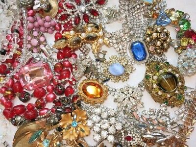 ALL RHINESTONE & CRYSTAL VINTAGE COSTUME HIGH END JEWELRY LOT So Much Spark