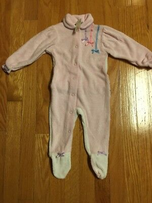 Vintage Carter's Infant Girl Footed Pink Sleeper Ruffle Butt  Size Large New!