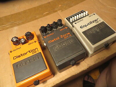Lot of 3 Boss Pedals   DS-1   MT-2   GE-7 !