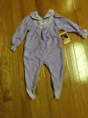 Vintage Carter's Infant Girl Footed Lavender Lilac Sleeper  Size L New! USA Made