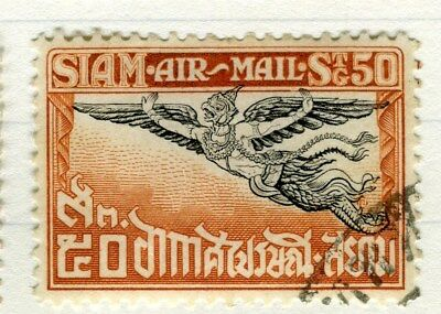 THAILAND;   1925 early Garuda Air issue fine used 50s. value Perf 12.5 issue