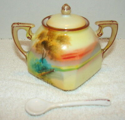 Vintage Hand Painted Nippon Porcelain Mustard Pot , Lid and Spoon - Marked