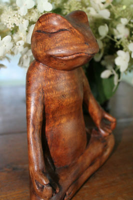 Yoga Buddha Frog Statue Meditating in Lotus Pose Carved Wood sculpture Bali Art