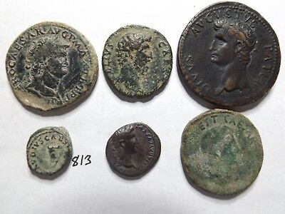Lot of 6 Quality Uncleaned, Some Large, Ancient Roman Coins; 61 Grams!