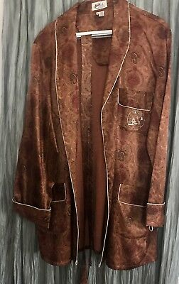 Vintage XL Chinese Satin Jacket Flannel-Lined, w/Belt Maroon & Rust Paisley