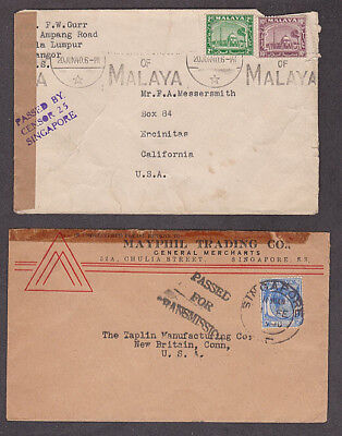 Singapore - 1940 Two censored covers both mailed to USA