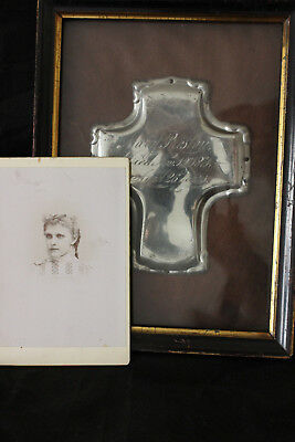 Antique Victorian Mourning  Framed Memorial  Memento. Mary. P. 1871