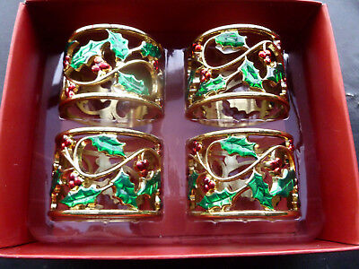 Lenox Holiday Berries and Leaves Metal Napkin Rings - Set of 4 - Mint in Box