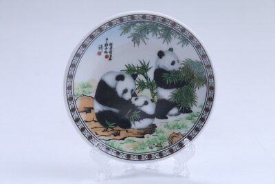 Oriental Vintage Colorful Porcelain painted panda Plate  aa323