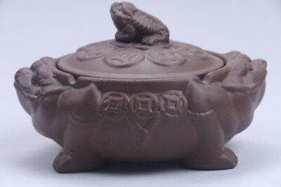 Exquisite Chinese carving the Golden Toad Yixing red stoneware teapot  AA536