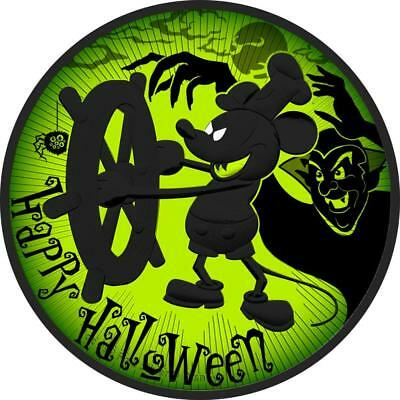 2017 Nieu 2$ Steamboat Willie Mickey Mouse Halloween Green 1Oz 999 Coin PRESALE