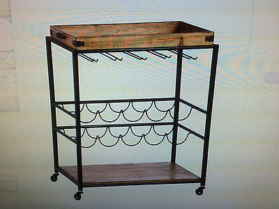 Jwc02502 Metal / Wood Wine Bar Cart
