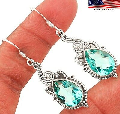 "10CT Aquamarine 925 Solid Sterling Silver Earrings Jewelry 2"" Long"