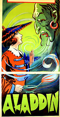 """Rare Large Antique Theatre Lithograph Poster of """"Aladdin""""- Genie, early 1900's"""