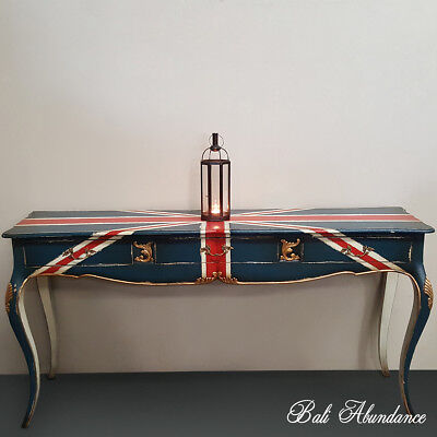 Bombay Chest Union Jack Long Vintage Gold Finish 3 Drawer Side Table Console