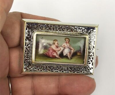 Hand Painted Miniature Porcelain Painting Cherubs in Silver Framed Brooch Pin