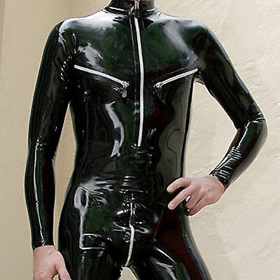 Latex Rubber Gummi Handsome Black cool Catsuit Tights Overall Suit Size XXS-XXL