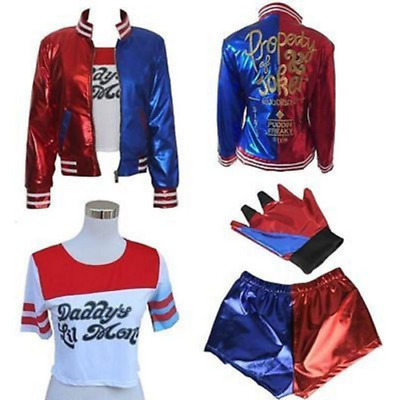 4 PCS Harley Quinn Suicide Squad Cosplay Costume Girls Kids Fancy Dress Free P&P