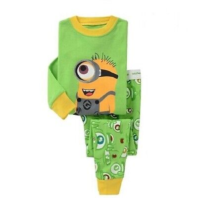 2017 new listing Kids boys Minions pajamas set 3T cotton Breathable nightclothes