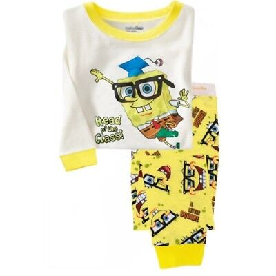 2017 Kids girls boys baby pajamas set 3T SpongeBob sleepwear cotton nightclothes