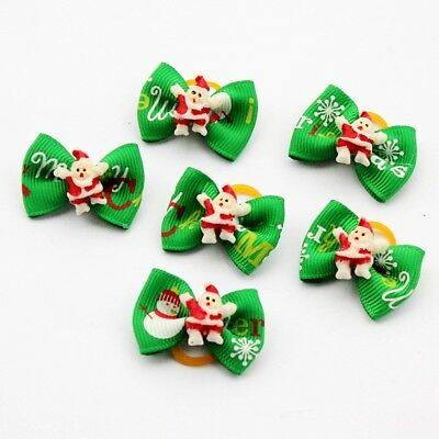 10pc Pet Dogs Christmas Hair Bows Puppy Cat Rubber Bands Grooming Accessories