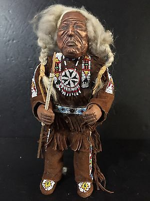 Rare Antique Plains Indian Sioux Native American Breaded Doll Carved wood face