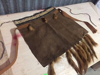NATIVE AMERICAN Plains INDIAN Loincloth Breechcloth Front piece fox tail leather