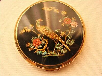 Vintage Ladies Stratton Powder Compact with lovely Peacock design