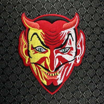"""Embroidered Red Devil Patch - Demon Krampus Halloween Sew or Iron On 4.5"""""""