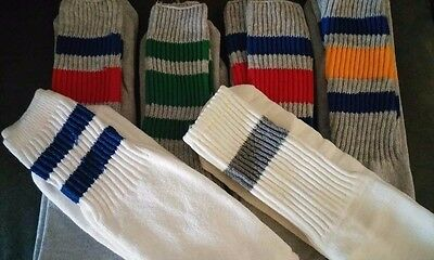 Vtg 70s Mens Thick Stripe Skater Socks 10-13 Cotten Blend Calf OTC Tube Sock Lot