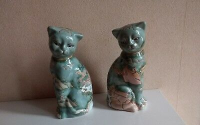 Antique/vintage chinese Macau pair cats quinlong red seal mark rare
