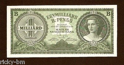 Hungary Ungarn 1 Milliard B. Pengo 1946 , UNC.  P#137 . Not Issued banknote !!!