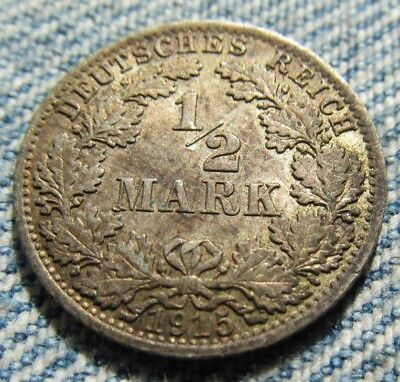 1915-A Germany, Empire Silver 1/2 Mark - Very Pretty Coin  - NOT Cleaned
