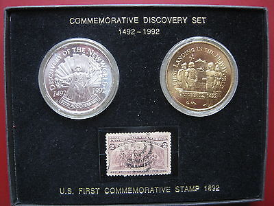 1492 - 1992 America Discovery Columbus set Silver & Bronze medals 1892 US stamp